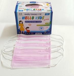 Khẩu Trang Y Tế Hello Kids (3 Lớp - Màu hồng)